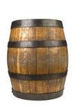 Barilotto di legno con gli anelli d'acciaio su bianco Immagini Stock