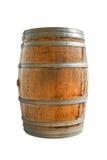Barilotto di legno con gli anelli del ferro Isolato su priorità bassa bianca Cli Immagini Stock