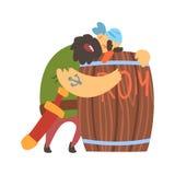 Barilotto di legno di Huging del pirata trasandato ubriaco di rum, personaggio dei cartoni animati della Taglio-gola dell'ostruzi Immagini Stock