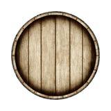 Barilotto di legno isolato su fondo bianco, vista superiore renderi 3D illustrazione di stock