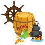 Barilotto di rum, nave di pirata, il timone Tema del pirata dei grafici fotografia stock libera da diritti