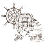 Barilotto di rum, nave di pirata, il timone Tema del pirata dei grafici fotografia stock