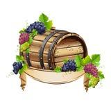 Barilotto di vino con i mazzi di uva Immagini Stock