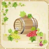 Barilotto di vino con l'uva Fotografie Stock