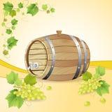 Barilotto di vino con l'uva bianca Fotografia Stock