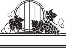 Barilotto di vino e mazzo dell'uva illustrazione di stock