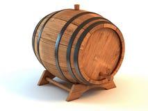 Barilotto di vino sopra priorità bassa bianca Immagini Stock