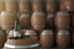 Barilotto e bottiglie di vino Fotografia Stock Libera da Diritti