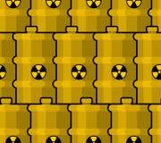 Barilotto giallo con il modello residuo tossico scatola metallica radioattiva Fotografie Stock Libere da Diritti