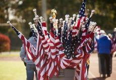 Barilotto in pieno delle bandiere americane Fotografie Stock