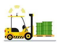 Barilotto verde automatico giallo di guida di veicoli del carrello elevatore illustrazione di stock