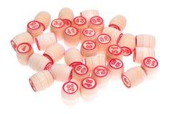 Barils, avec les numéros pour jouer le loto Photographie stock