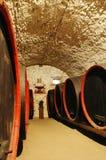 Barils dans une vin-cave photo libre de droits