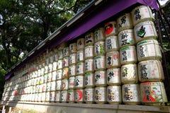 Barils de saké chez Meiji Shrine Images libres de droits