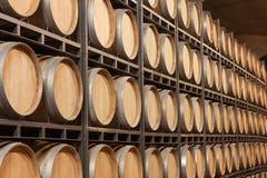 Barils de vin dans la cave images libres de droits