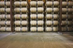 Barils de vin dans le stockage Santa Maria California photographie stock