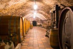 Barils de vin en bois dans une cave souterraine, Melnik photo libre de droits