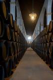 Barils de xérès dans le bodega de Jerez, Espagne Photographie stock libre de droits