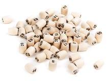 Barils en bois avec des numéros de loto Photos stock