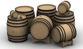 Barils en bois de différentes tailles Images stock