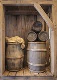 Barils en bois de tonneau Photo libre de droits