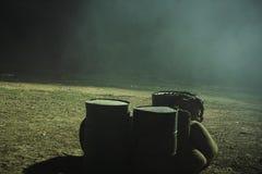 Barils en métal et tuyau 02 de fuite de fumée Photo libre de droits