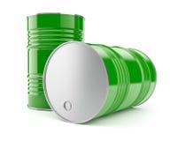 Barils en métal pour le stockage de pétrole ou d'essence Photographie stock libre de droits