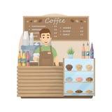 Barista在咖啡店 皇族释放例证