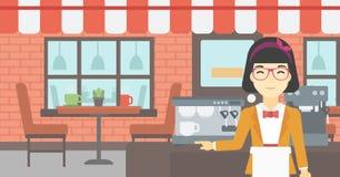 Barista που στέκεται κοντά στη μηχανή καφέ ελεύθερη απεικόνιση δικαιώματος