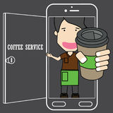 Barista on application smart phone with coffee cup on the screen Royalty Free Stock Photography