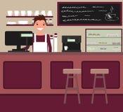 Barista atrás da barra contrária Vetor Ilustração lisa do estilo ilustração royalty free