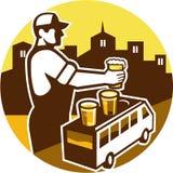 Barista Beer City Van Circle Retro Immagine Stock Libera da Diritti