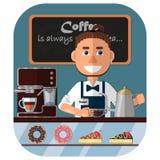 Barista bij de teller in de koffiewinkel, de koffiemachine en de snoepjes in het venster vector illustratie