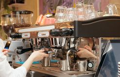 Barista is brewing coffee Royalty Free Stock Image