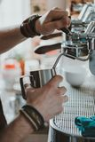 Barista Cafe Making Coffee. Preparation Service Concept Stock Photos
