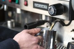 Barista Cafe Making Coffee Preparation Service Concept royalty free stock photos