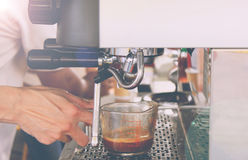 Barista Cafe Making Coffee Preparation. Vintage Style Stock Photos