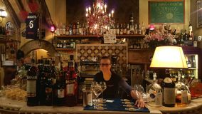 Barista in caffè, Roma, Italia Immagini Stock Libere da Diritti