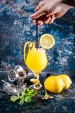 Barista che prepara il cocktail alcolico della vodka con ghiaccio e la menta Le bevande del cocktail sono servito al ristorante,  Fotografia Stock