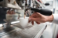 Barista and coffee machine Royalty Free Stock Photo