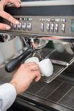 Barista and coffee machine Stock Image