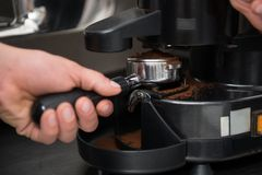 Barista and coffee machine Royalty Free Stock Photo
