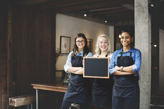 Barista Coffee Shop Concept di associazione degli amici immagine stock libera da diritti
