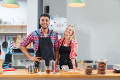 Barista coffee shop owner couple happy smile at bar counter Royalty Free Stock Photography
