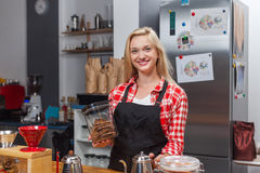 Barista coffee shop owner woman happy smile at bar Royalty Free Stock Images