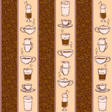 Barista coffee tools. Sketch style. Doodles. Pattern. Royalty Free Stock Photos