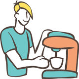 Barista com máquina do café Fotos de Stock Royalty Free