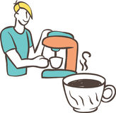 Barista com máquina e copo do café Imagens de Stock Royalty Free