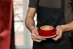 Barista with cup of coffee in shop, closeup. Space for text stock images
