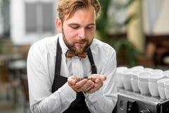 Barista die koffiebonen controleren bij de koffie Stock Fotografie